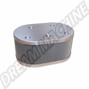 Filtre à air ovale  INOX pour carburateur Weber IDF / Dellorto / HPMX Vintage Speed Grille style KNECHT.315-IDF-00211  | Dream-Machine.fr