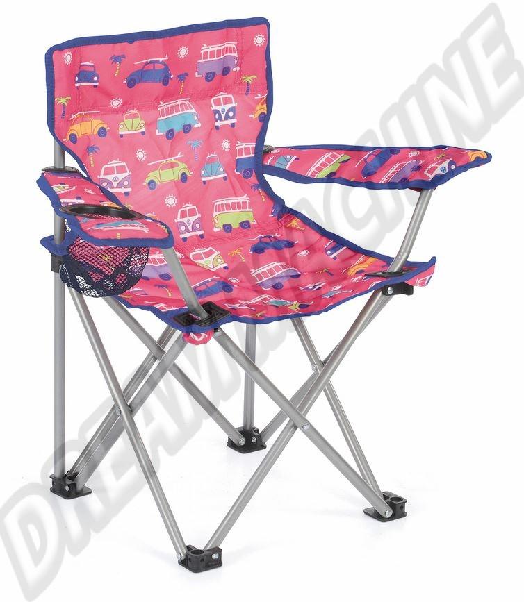 Chaise pliante enfant avec accoudoirs et porte boisson Combi et Coccinelle