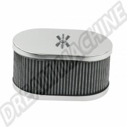 Filtre à air Ovale Chromé pour carburateur Weber IDF & Dellorto