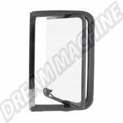 Déflecteur arriere complet gauche avec cadre de vitre  noir en acier inoxydable Combi de 8.1967 -> 7.1979 221847655  | Dream-Machine.fr