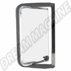 Déflecteur arriere complet droit avec cadre de vitre  chromé en acier inoxydable Combi de 8.1967 -> 7.1979 221847656  | Dream-Machine.fr