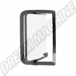 Déflecteur arriere complet droit avec cadre de vitre  Noir en acier inoxydable Combi de 8.1967 -> 7.1979 221847656BK  | Dream-Machine.fr