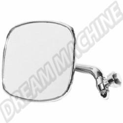 211857513Finox Rétroviseur Gauche avec bras chromé et support de miroir en inox poli, large jonc plastique gris de sertissage  comme d'origine 8/1967-7/1979