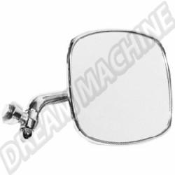 211857514Finox Rétroviseur Droit avec bras chromé et support de miroir en inox poli, large jonc plastique gris de sertissage  comme d'origine 8/1967-7/1979