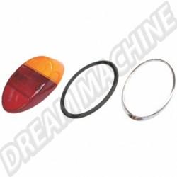 111945241KBQ  Cabochon de feu ar 1200 orange et rouge europe avec joint et tour chromé 8/61-7/67 et 1200 -7/73 HELLA (avec marquage CE)