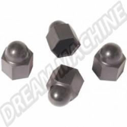 Set de 4 caches écrou de roue en plastique noir