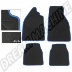 Jeu de 4 tapis de sol noir avec liseré bleu Coccinelle tous modèles
