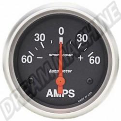 Ampèremètre Autometer diamètre 67mm 60-0-60 ampères