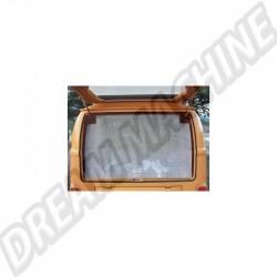 Moustiquaire de hayon arrière avec pourtour marron, rallongée pour se coincer sous le matelas, pour Combi Westfalia 8/63-79