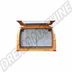 Moustiquaire de hayon arrière avec pourtour marron, avec fermeture éclair centrale, pour Combi Westfalia 8/63-79