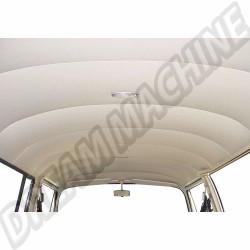 Ciel de toit/garniture de pavillon complet Blanc cassé vinyl perforé 9 baleines sans toit ouvrant de 8/1967 a 7/1972