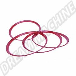 Cerclage d'enjoliveur rouge rubis pour jantes 5x205 avec enjoliveur clipsé, le jeu de 4