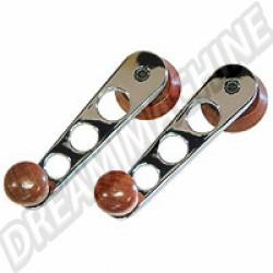 AC837611 Poignée de vitre chromée avec boutons et embases bois 68-->, la paire