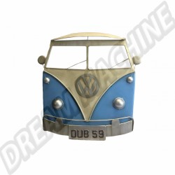 Plaque deco métal Face avant Volkswagen Combi Split bleu et blanc 60 cm x 60cm dm80903401 | Dream-Machine.fr