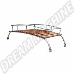 AC898020 Galerie de toit 2 barres en inox poli et bois Type 2