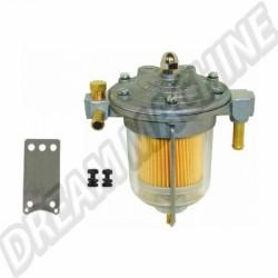 """Filtre à essence régulateur """"KING"""" bocal en verre diamètre 67mm prévu pour montage manomètre"""
