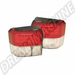 Kit de 2 feux arrière à LED rouge et transparent transporter T4 90-->2003