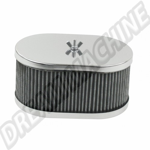 Filtre à air chromé ovale pour carburateur Weber 40/48 IDF & Dellorto 00-8714-0  Sur www.dream-machine.fr