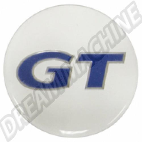 Autocollant logo GT pour centre de cabochon de roue. 43mm diamètre. les 4 00-9671-0 Sur www.dream-machine.fr