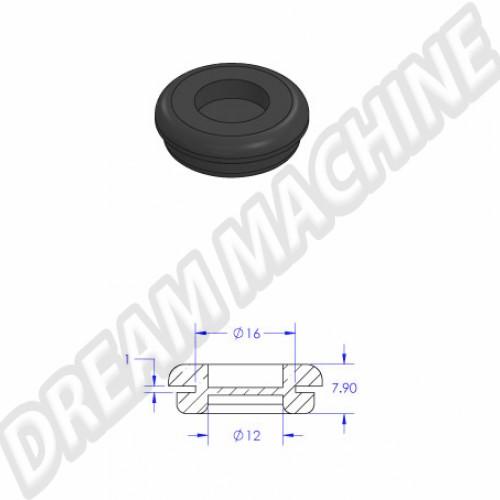 Joint passe câble sur joue d'aile arrière vendu à l'unité. Diamètre : 16  / 12 mm 111971911A Sur www.dream-machine.fr