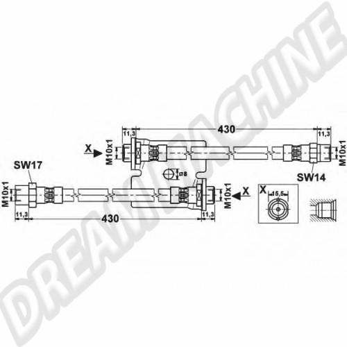 Flexible de frein arrière. VW Caddy 83-92 147611775A Sur www.dream-machine.fr