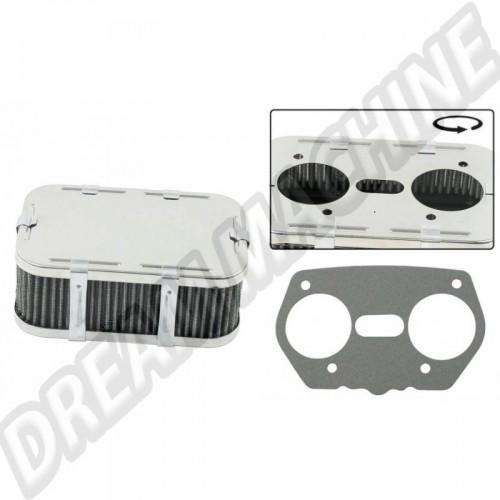 Filtre à air standard rectangulaire hauteur 65 mm pour carburateur Weber IDF  00-9024-0 Sur www.dream-machine.fr