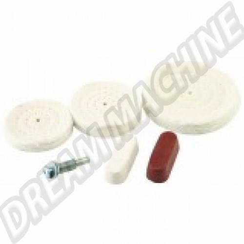 Kit polissage comprenant 3 tampons + 2 blocs de produit de polissage 67259 Sur www.dream-machine.fr