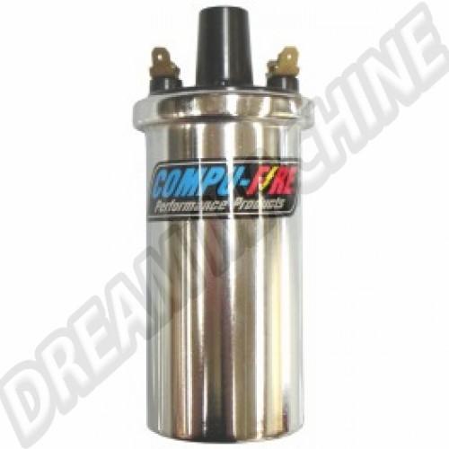 Bobine d'allumage chromée époxy anti-vibrations Compufire 35.000Volts DM81333 Sur www.dream-machine.fr