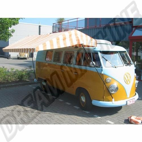 Auvent orange et blanc comme d'origine sur les split Westfalia (adaptable sur tout modêle 1950-67) agob67 Sur www.dream-machine.fr