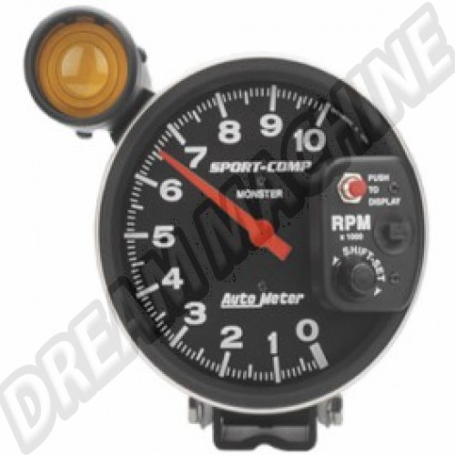 Compte-tours Autometer diamètre 125mm avec shift light 10.000 Tours Sport Comp AM93505 Sur www.dream-machine.fr