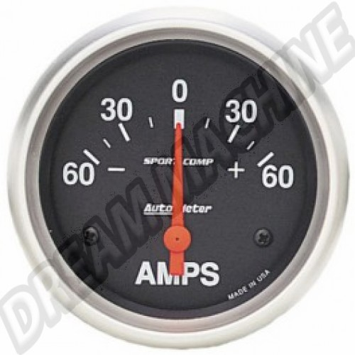 Ampèremètre Autometer diamètre 67mm 60-0-60 ampères AM93560 Sur www.dream-machine.fr