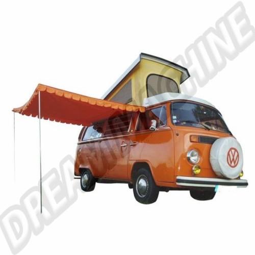 Auvent orange en coton avec  poteaux en acier. AC898001 Sur www.dream-machine.fr