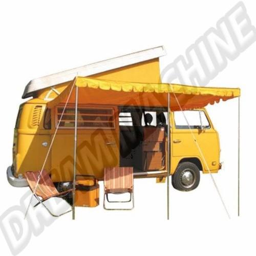 Auvent Jaune en coton  Il est livré avec 3 poteaux réglables en hauteur AC898002 Sur www.dream-machine.fr