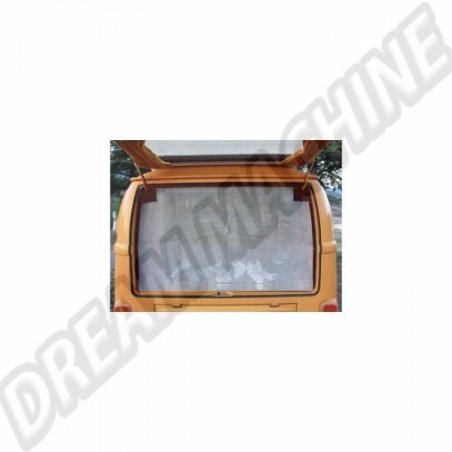 Moustiquaire de hayon arrière avec pourtour marron. rallongée pour se coincer sous le matelas. pour Combi Westfalia 8/63-79 DM9904 Sur www.dream-machine.fr