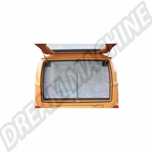 Moustiquaire de hayon arrière avec pourtour marron. avec fermeture éclair centrale. pour Combi Westfalia 8/63-79 DM9905 Sur www.dream-machine.fr