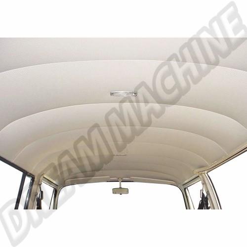 Ciel de toit/garniture de pavillon complet Blanc cassé vinyl perforé 9 baleines sans toit ouvrant de 8/1967 a 7/1972 Dm22902 Sur www.dream-machine.fr