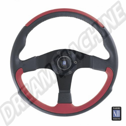 Volant. leader Nardi. Noir & Rouge en cuir WC400001 Sur www.dream-machine.fr