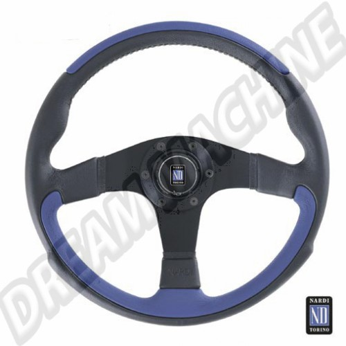 Volant. leader Nardi. Noir & Bleu en cuir WC400002 Sur www.dream-machine.fr