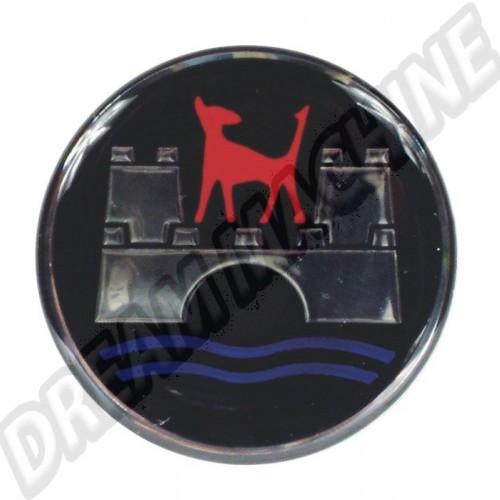 Autocollant logo Wolfsburg pour centre de cabochon de roue. 45mm diamètre AC601581 Sur www.dream-machine.fr