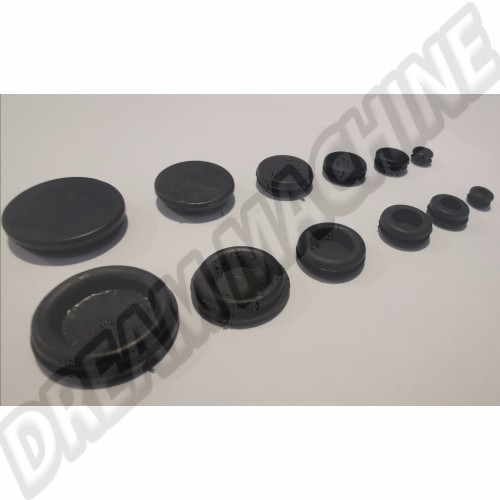 Kit œillets d'obturation en caoutchouc pour trous de 6.4 mm à 22.5 mm. le sachet de 12 DM160105 Sur www.dream-machine.fr