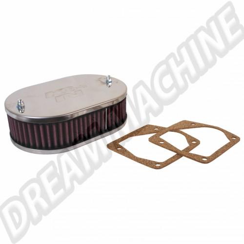 Filtre à air ovale K&N  pour carbu 32/34 DMTL > Golf 1 129KN569025 Sur www.dream-machine.fr