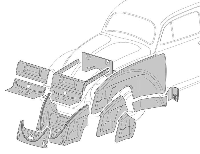 VW Karmann Ghia sol Tôle bas de caisse Arrière Gauche